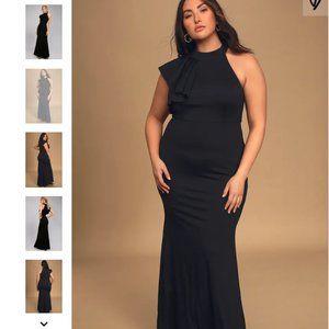 Lulu's Margaux Black One-Shoulder Maxi Dress